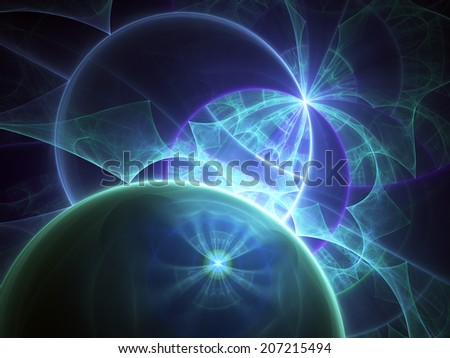 Dark blue fractal, digital artwork for creative graphic design
