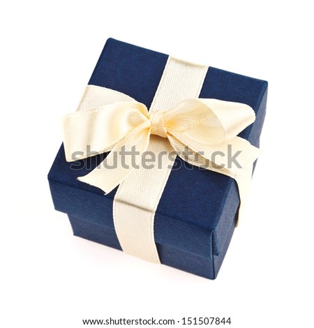 dark blue gift box with golden ribbon and bow isolated on white top view