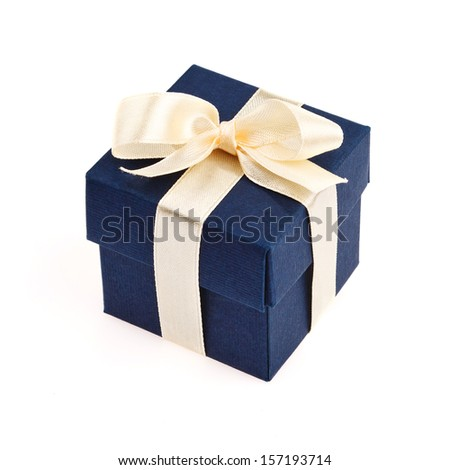 dark blue gift box with golden ribbon and bow isolated on white top view - stock photo