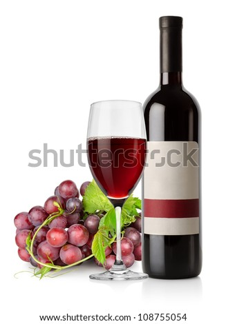 Dark blue grapes and red wine isolated on a white background - stock photo