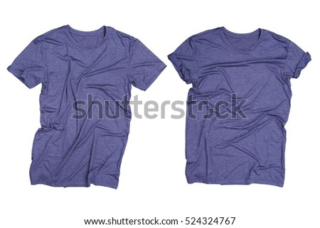Dark blue gray t-shirt isolated, Wrinkled dark blue gray t-shirt isolated
