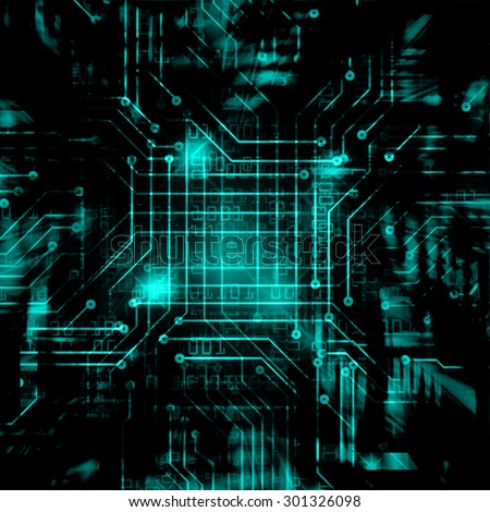 dark blue green color Light Abstract Technology background for computer graphic website internet circuit. illustration. infographics. binary code background. www. Spark. motion move blur - stock photo