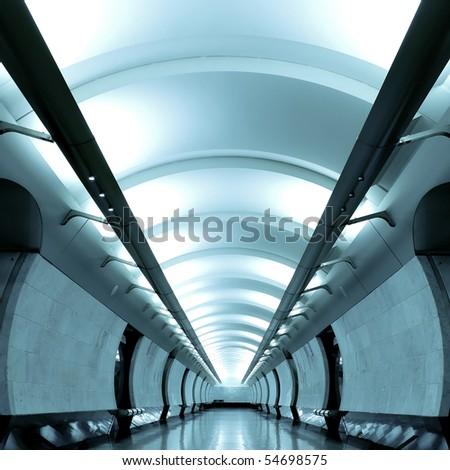 dark blue hall in metro station - stock photo