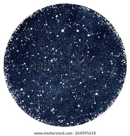 Dark blue hand drawn watercolor night sky with stars. Splash texture. Circle form with rough, artistic edges. Raster version. - stock photo