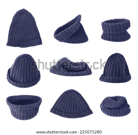 Dark blue knitted head cap isolated over the white background, set of nine different foreshortenings - stock photo