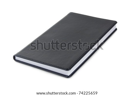 Dark blue leather notebook isolated over white - stock photo