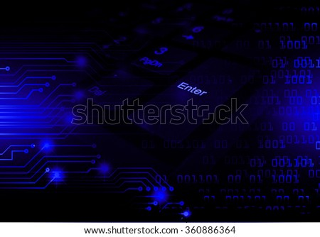 dark blue Light Abstract Technology background for computer graphic website internet business. circuit. illustration. digital. infographics. binary code. www.Spark.zero one. eye scan virus - stock photo