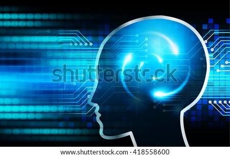 Dark blue Light Abstract Technology background for computer graphic website internet business. circuit. illustration. infographics. motion move blur.neon. Brainstorm, Brain. Bulb Ideas. head