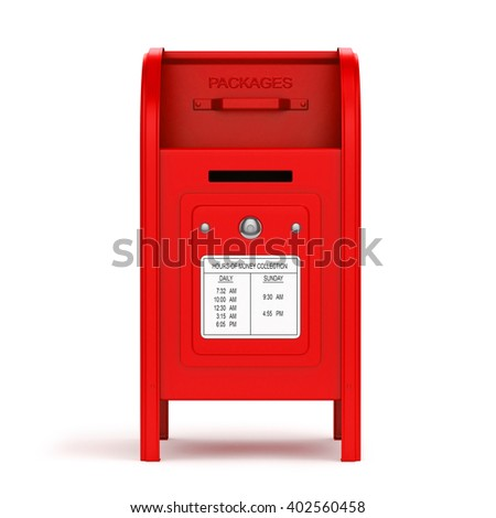 Dark blue mail box. 3d image. Isolated white background.