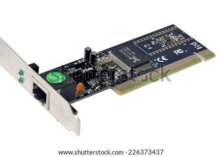 Dark blue network interface card with RJ45 connector