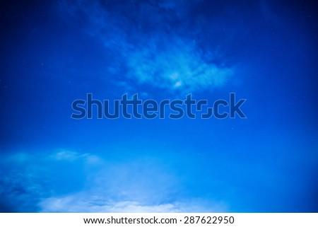 Dark blue night sky with many stars. Milky way background - stock photo