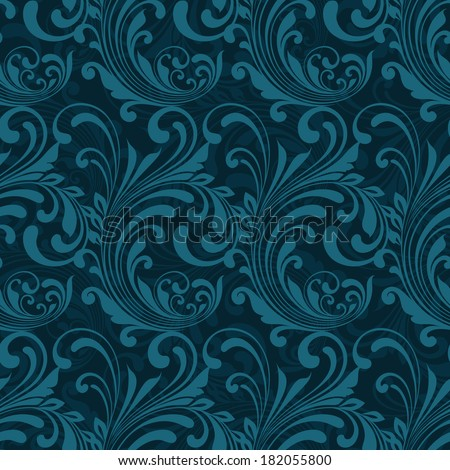 Dark blue ornamental seamless pattern background  illustration