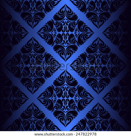 Dark blue ornamental seamless Wallpaper. Raster version. - stock photo