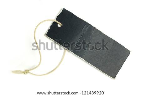 Dark blue paper label white isolated. - stock photo