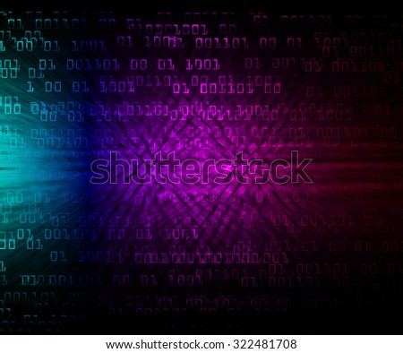 dark blue purple illustration of technology internet network computer background with binary number, style background. infographics. Information. motion blur. pixel. Binary digit - stock photo