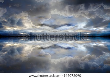 Dark blue reflected clouds background - stock photo