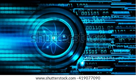 Dark Blue Shining atom scheme. illustration. dark background. digital. infographics. Abstract Technology background for computer graphic website internet and business. Spark - stock photo