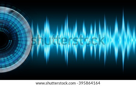dark blue sound wave Light Abstract Technology background for computer graphic website internet and business. circuit. illustration. digital. infographics. binary code background. eye