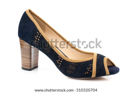 Dark blue suede women shoe isolated on white background.