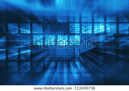Dark blue technology background - stock photo