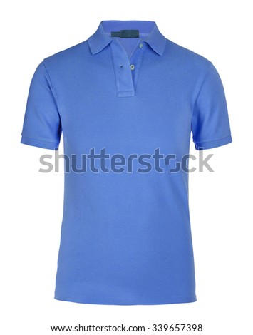 Dark blue tshirt isolated on white - stock photo