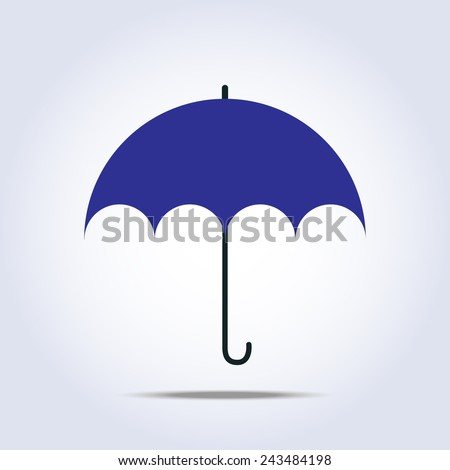 Dark blue umbrella simple icon - stock photo