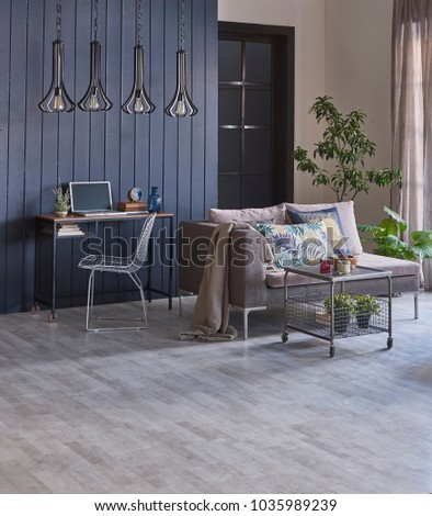 Dark Blue Wood Wall Grey Living Room Sofa Home Office Corner And Decoration