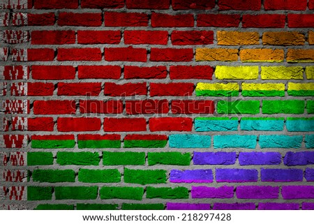 Dark brick wall texture - country flag and rainbow flag painted on wall - Belarus - stock photo