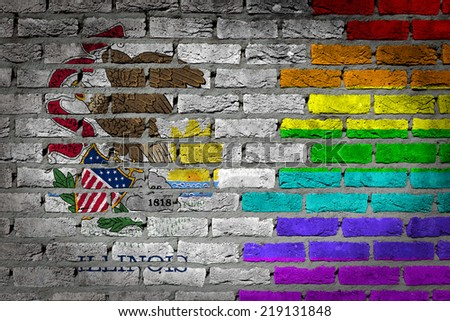 Dark brick wall texture - coutry flag and rainbow flag painted on wall - Illinois - stock photo
