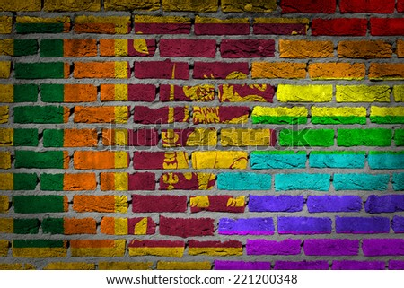 Dark brick wall texture - coutry flag and rainbow flag painted on wall - Sri Lanka