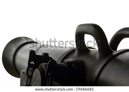 Dark brown ancient cannon detailed and isolated - stock photo