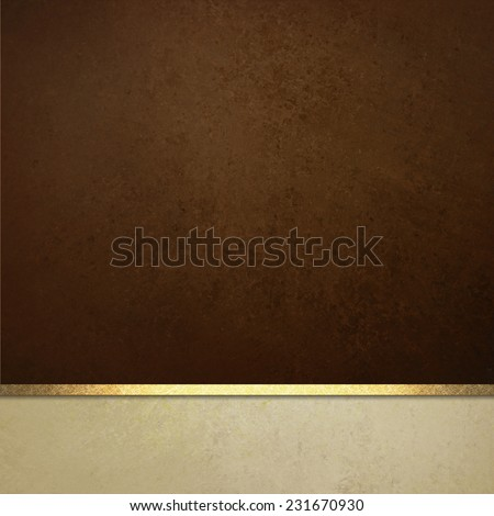 dark brown background website or poster layout, fancy elegant off white vintage textured footer with gold ribbon trim, luxury background template design - stock photo