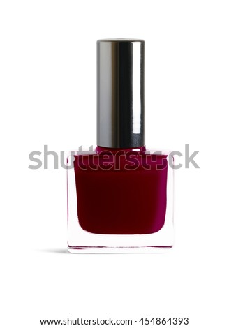 Dark brown color nail polish isolated on white background with clipping path