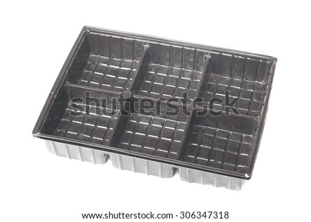 Dark brown empty plastic containers isolated on white background - stock photo