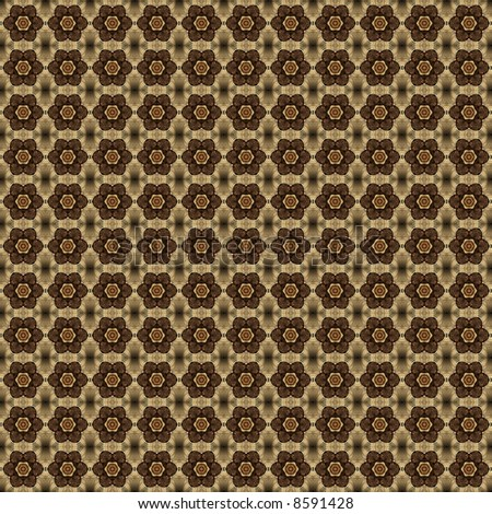 Dark brown flower / star pattern on black background with gold bits woven into it (tile able).