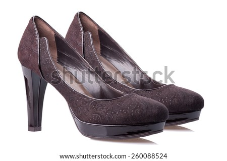 Dark brown high heel women shoes isolated on white background. - stock photo
