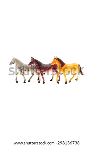 Dark brown horse toy. Isolated dark brown horse toy standing on white background profile and angle view.