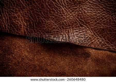 Dark Brown Leather Cut for Concept Idea Style of Fine Leather Crafting, Handcrafts Workspace, Handmade Leather Handcrafted, Leather Worker. Background Textured and Wallpaper. Vintage Rustic. - stock photo