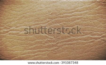 Dark Brown leather texture closeup - stock photo