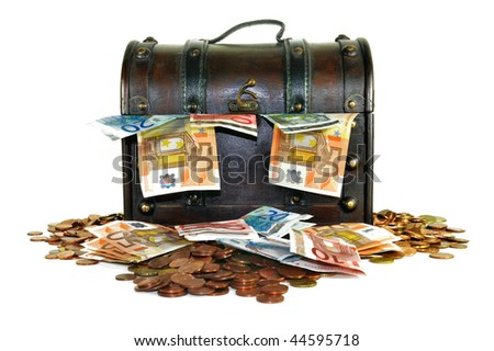 Dark brown money chest with Euro currency