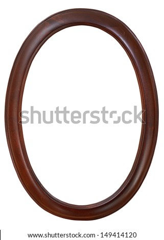 dark brown oval wooden picture frame with cutout canvas isolated on white background - stock photo