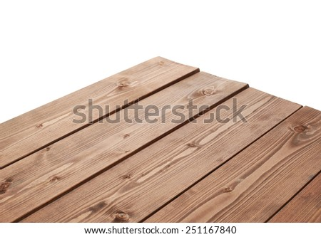 Dark brown paint coated wooden pine boards as a copyspace background composition isolated over the white background - stock photo