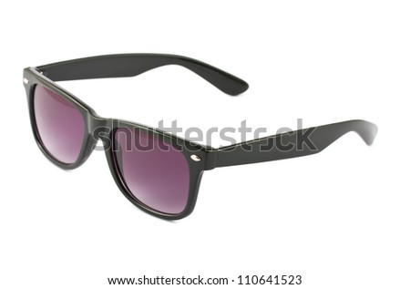 Dark brown sunglasses isolated on white background