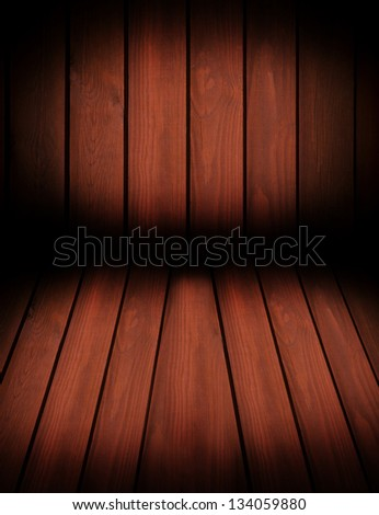 Dark brown toned boards texture abstract with black vignette, wall and floor planks surface background in vertical orientation, digitally altered, nobody.