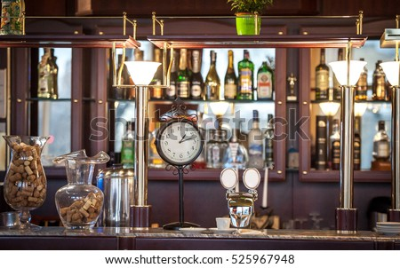 Dark Brown Top Of Bar And Free Space For Your Glass. Empty Glasses For Wine