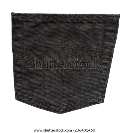dark brown  trousers back pocket isolated on white
