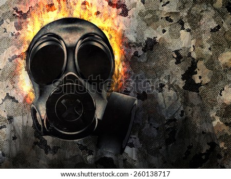 Dark camouflage background with gas mask
