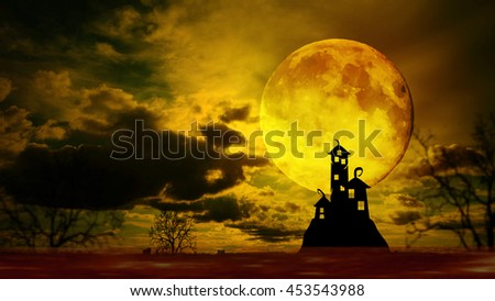 Dark castle with dramatic sky, tree, full moon and clouds, Warm orange tone. - stock photo