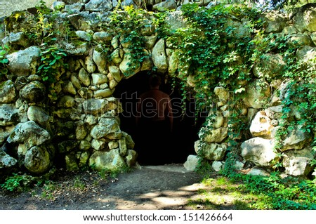 dark cave - stock photo