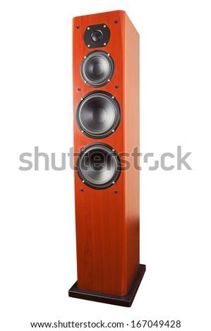 Dark cherry front loudspeaker isolated over white background. - stock photo